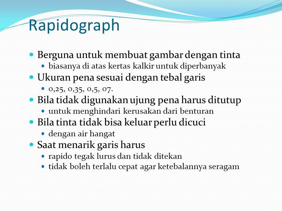 Rapidograph Berguna untuk membuat gambar dengan tinta biasanya di atas kertas kalkir untuk diperbanyak Ukuran pena sesuai dengan tebal garis 0,25, 0,3