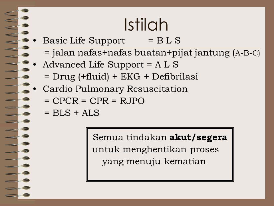 Istilah Basic Life Support = B L S = jalan nafas+nafas buatan+pijat jantung ( A-B-C) Advanced Life Support = A L S = Drug (+fluid) + EKG + Defibrilasi