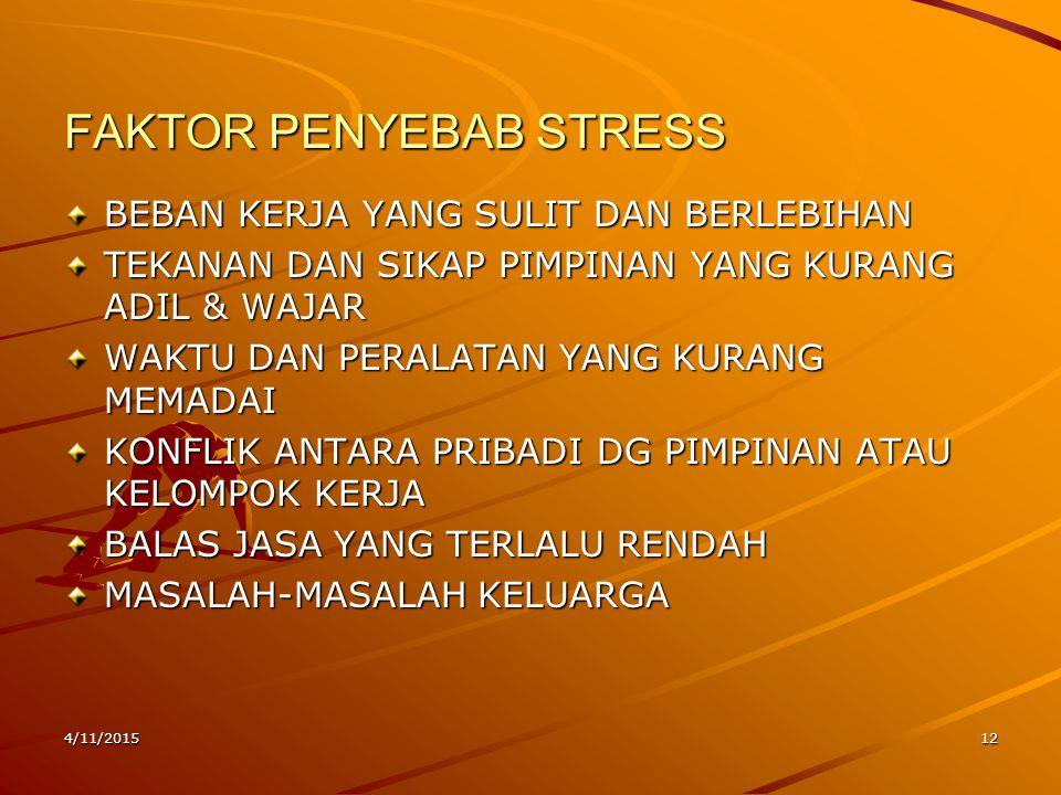 4/11/201512 FAKTOR PENYEBAB STRESS BEBAN KERJA YANG SULIT DAN BERLEBIHAN TEKANAN DAN SIKAP PIMPINAN YANG KURANG ADIL & WAJAR WAKTU DAN PERALATAN YANG