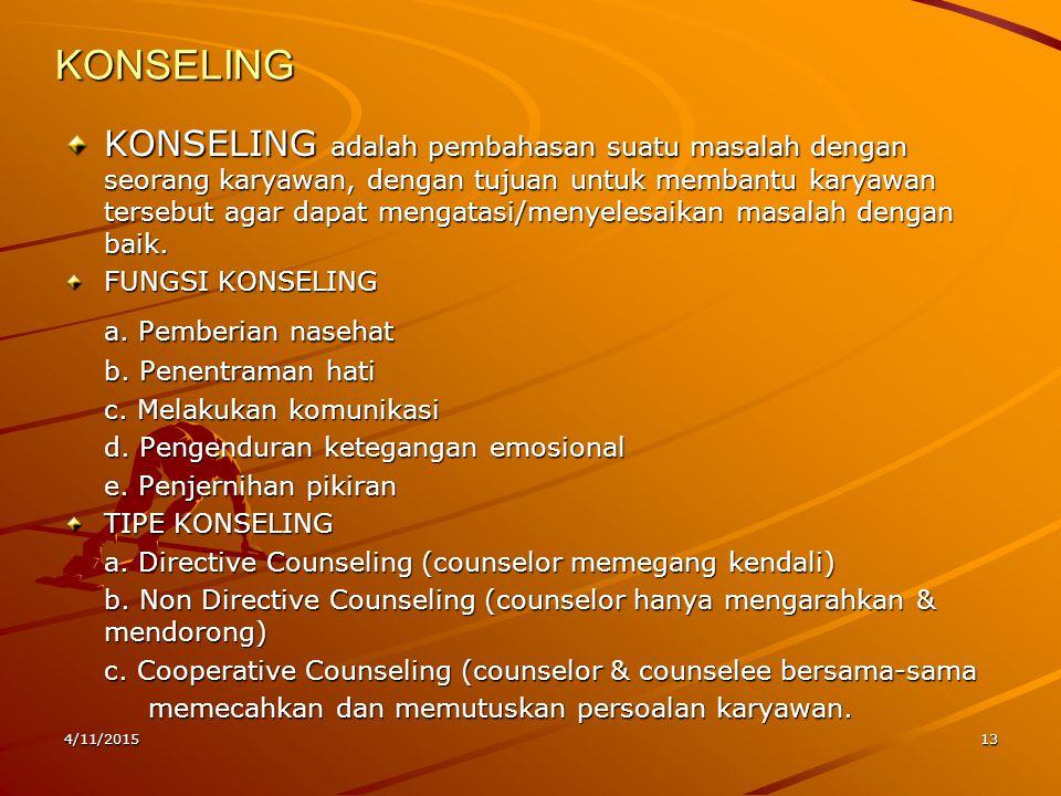 4/11/201513 KONSELING KONSELING adalah pembahasan suatu masalah dengan seorang karyawan, dengan tujuan untuk membantu karyawan tersebut agar dapat men