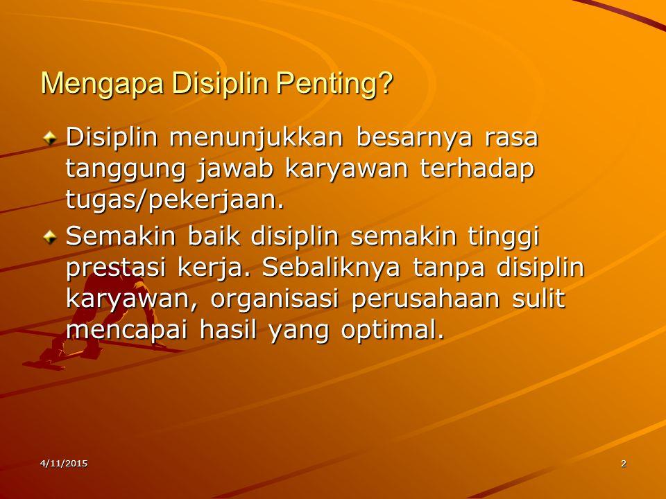 4/11/20152 Mengapa Disiplin Penting? Disiplin menunjukkan besarnya rasa tanggung jawab karyawan terhadap tugas/pekerjaan. Semakin baik disiplin semaki