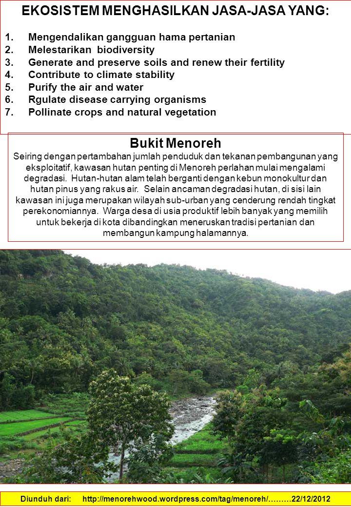 EKOSISTEM MENGHASILKAN JASA-JASA YANG: 1.Mengendalikan gangguan hama pertanian 2.Melestarikan biodiversity 3.Generate and preserve soils and renew their fertility 4.Contribute to climate stability 5.Purify the air and water 6.Rgulate disease carrying organisms 7.Pollinate crops and natural vegetation Diunduh dari: http://menorehwood.wordpress.com/tag/menoreh/………22/12/2012 Bukit Menoreh Seiring dengan pertambahan jumlah penduduk dan tekanan pembangunan yang eksploitatif, kawasan hutan penting di Menoreh perlahan mulai mengalami degradasi.
