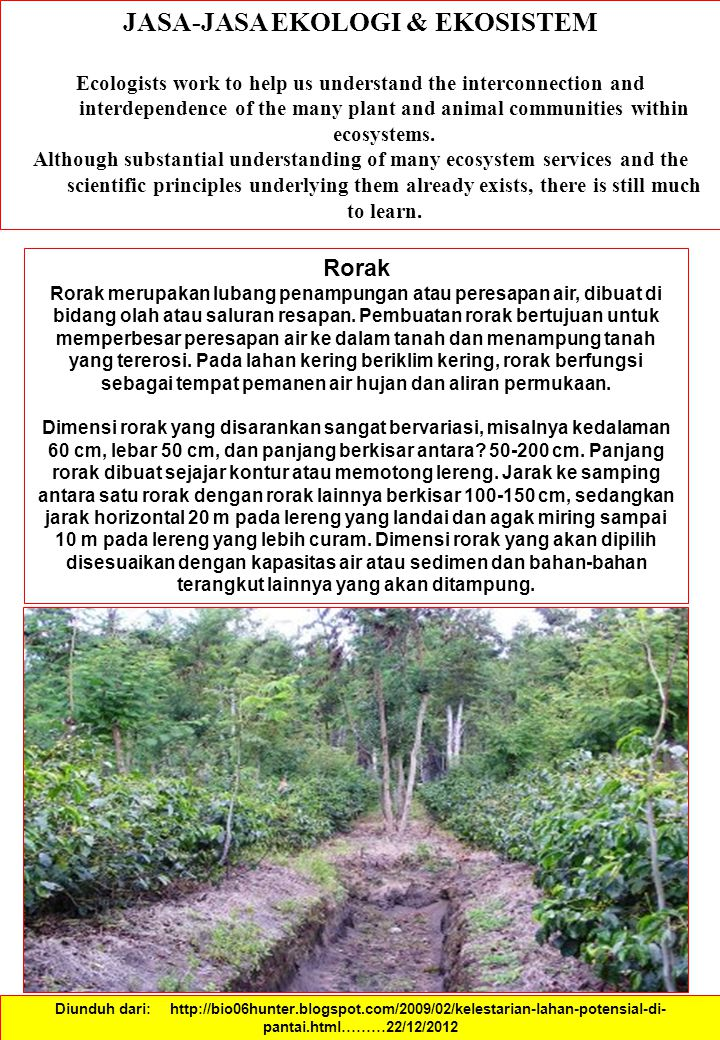 JASA-JASA EKOLOGI & EKOSISTEM Ecologists work to help us understand the interconnection and interdependence of the many plant and animal communities within ecosystems.