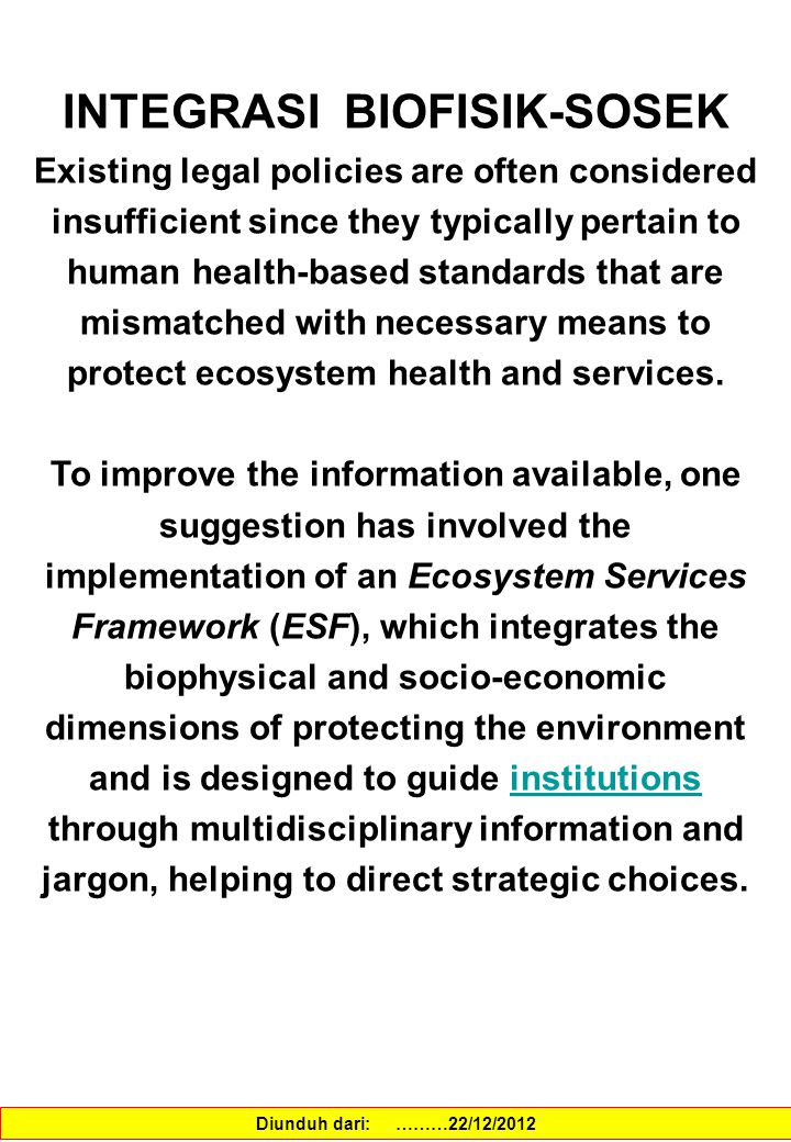 PERANAN BIODIVERSITAS DALAM MEMELIHARA JASA EKOSISTEM The tradeoffs among different services within an ecosystem, the role of biodiversity in maintaining services, and the effects of long and short- term perturbations are just some of the questions that need to be further explored.