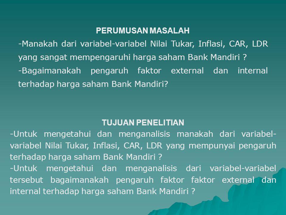 PERUMUSAN MASALAH -Manakah dari variabel-variabel Nilai Tukar, Inflasi, CAR, LDR yang sangat mempengaruhi harga saham Bank Mandiri .