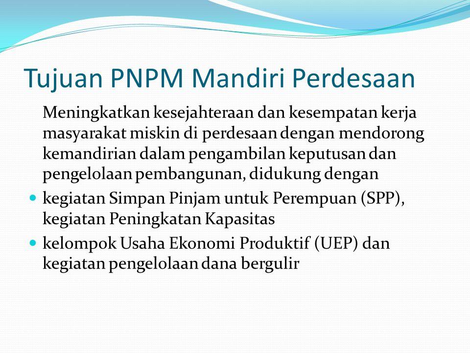 Tujuan PNPM Mandiri Perdesaan Meningkatkan kesejahteraan dan kesempatan kerja masyarakat miskin di perdesaan dengan mendorong kemandirian dalam pengam