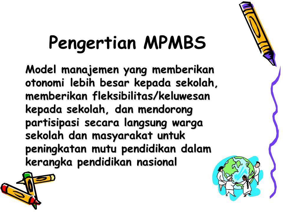 Pengertian MPMBS Model manajemen yang memberikan otonomi lebih besar kepada sekolah, memberikan fleksibilitas/keluwesan kepada sekolah, dan mendorong