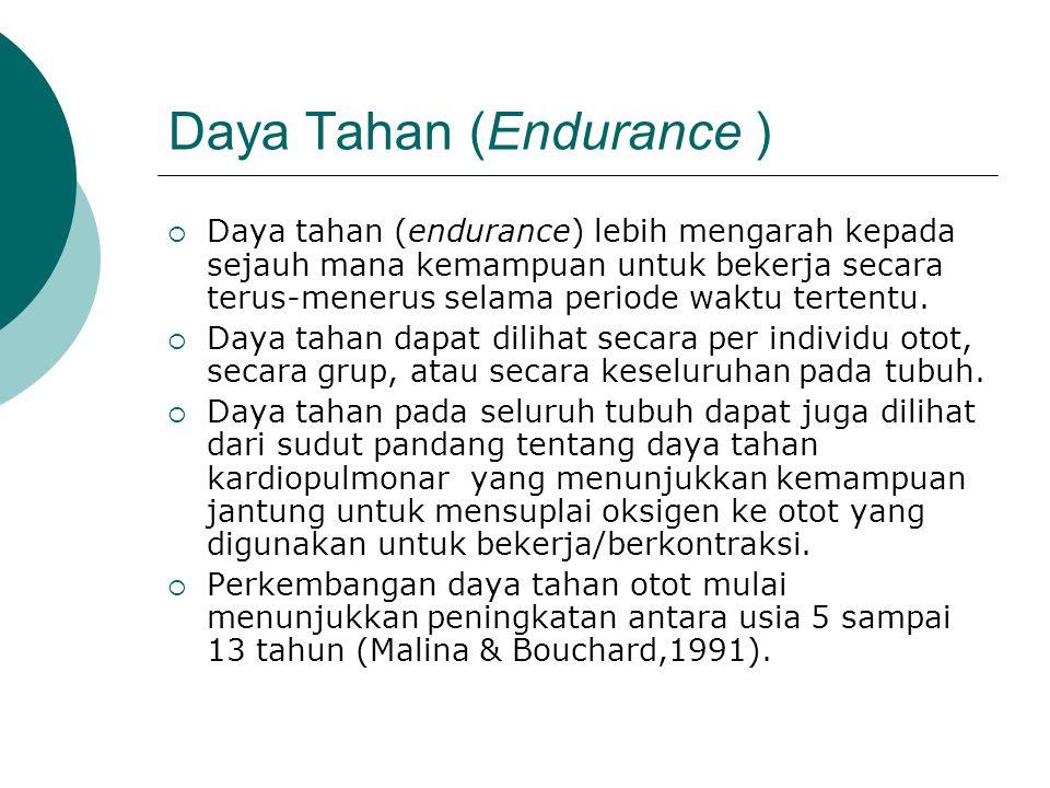 Daya Tahan (Endurance )  Daya tahan (endurance) lebih mengarah kepada sejauh mana kemampuan untuk bekerja secara terus-menerus selama periode waktu t