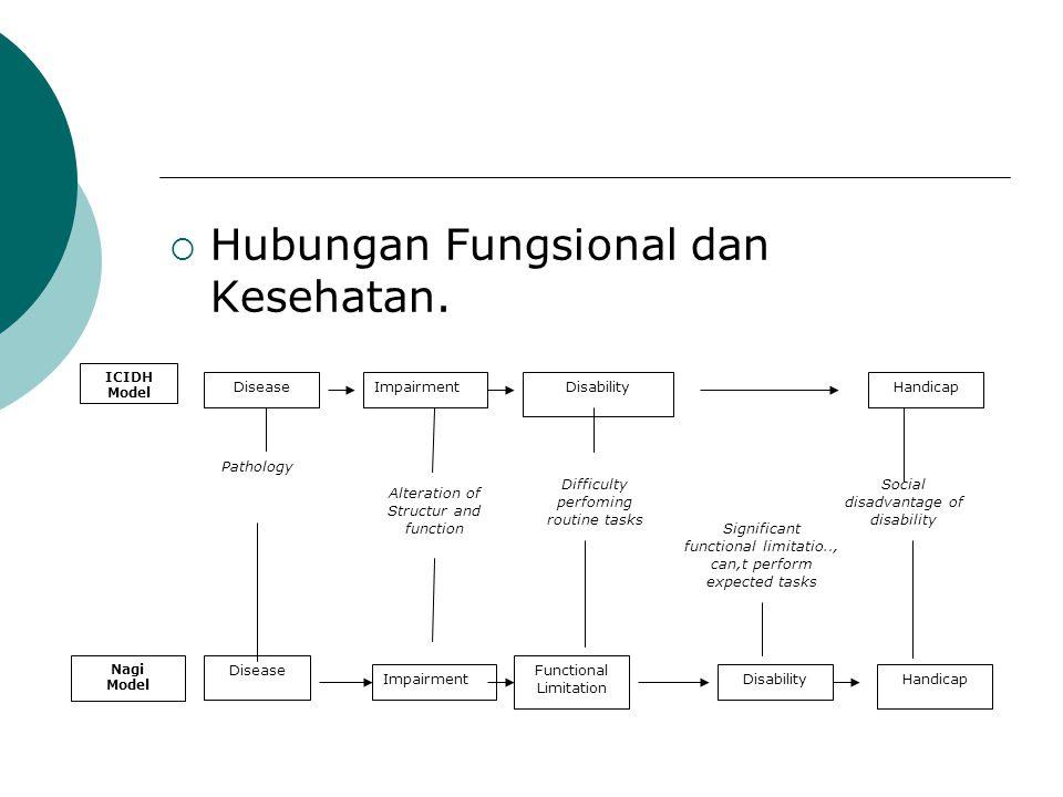  Hubungan Fungsional dan Kesehatan. ICIDH Model DiseaseImpairmentDisabilityHandicap Nagi Model Disease ImpairmentDisabilityHandicap Functional Limita