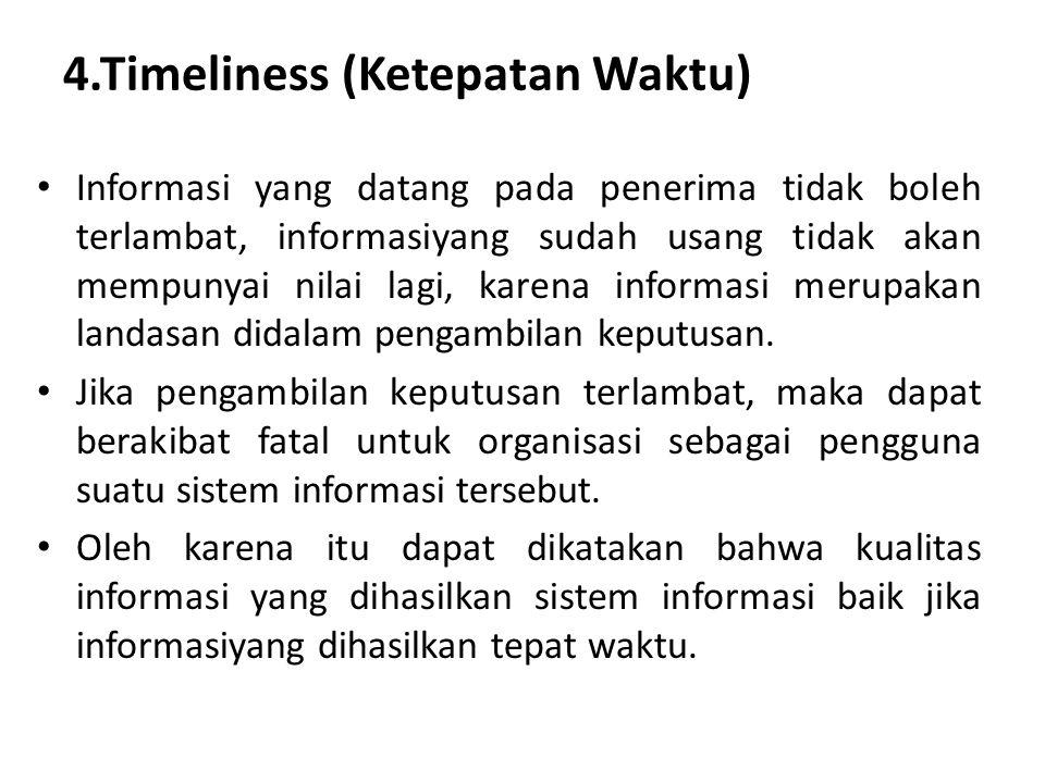 4.Timeliness (Ketepatan Waktu) Informasi yang datang pada penerima tidak boleh terlambat, informasiyang sudah usang tidak akan mempunyai nilai lagi, k