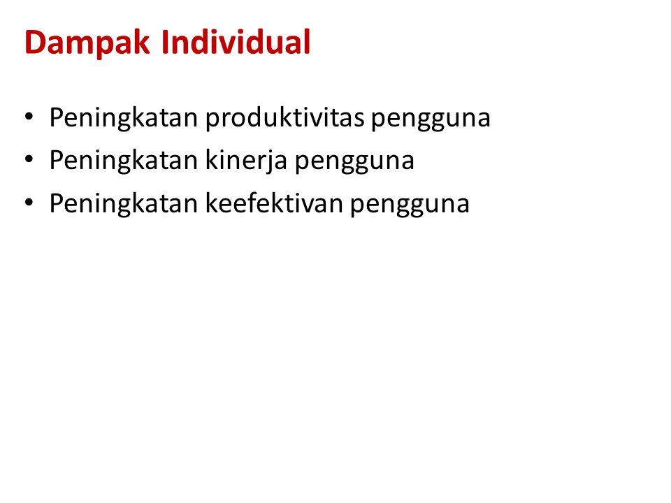 Dampak Individual Peningkatan produktivitas pengguna Peningkatan kinerja pengguna Peningkatan keefektivan pengguna