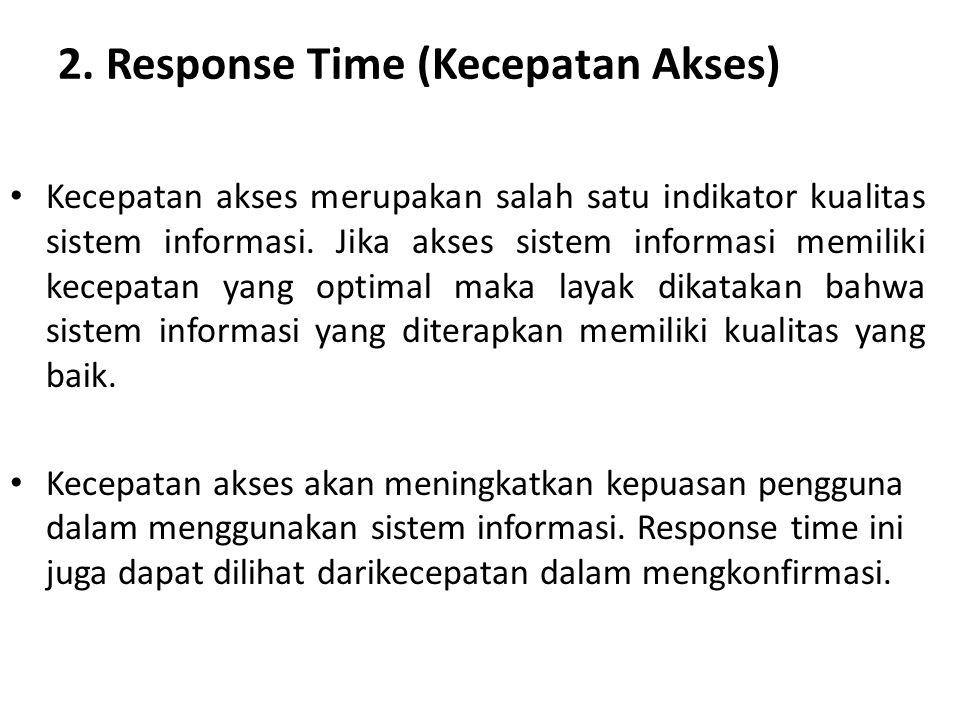 2. Response Time (Kecepatan Akses) Kecepatan akses merupakan salah satu indikator kualitas sistem informasi. Jika akses sistem informasi memiliki kece