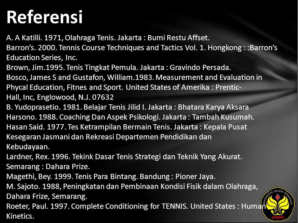 Referensi A. A Katilli. 1971, Olahraga Tenis. Jakarta : Bumi Restu Affset.