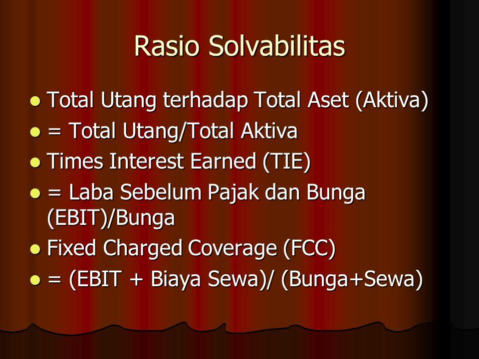 Rasio Solvabilitas Total Utang terhadap Total Aset (Aktiva) Total Utang terhadap Total Aset (Aktiva) = Total Utang/Total Aktiva = Total Utang/Total Ak