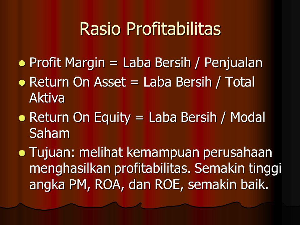 Rasio Profitabilitas Profit Margin = Laba Bersih / Penjualan Profit Margin = Laba Bersih / Penjualan Return On Asset = Laba Bersih / Total Aktiva Retu