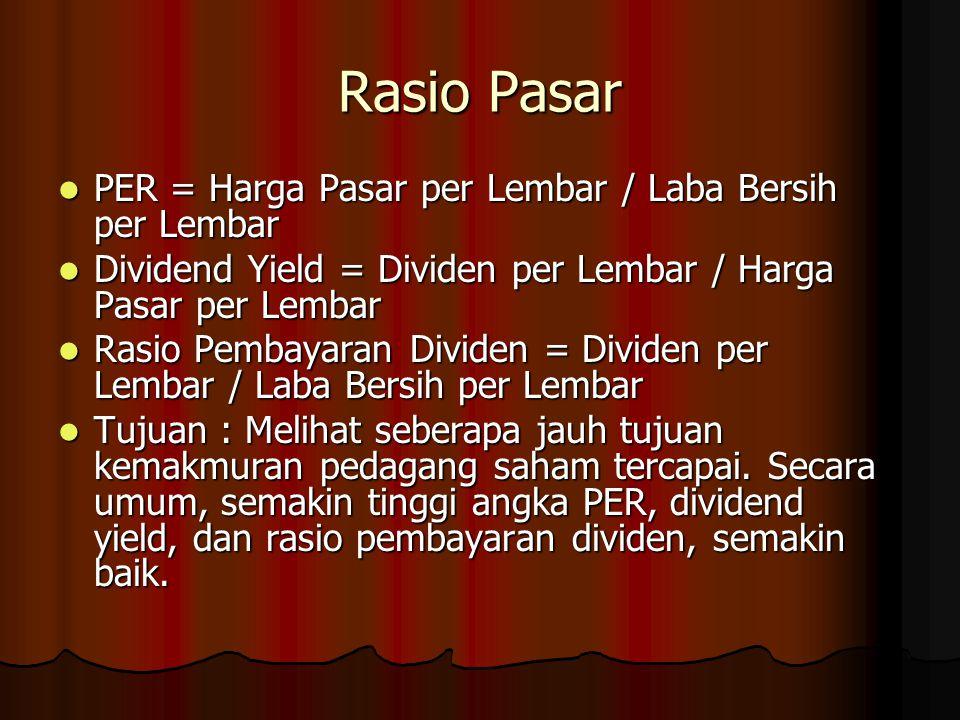 Rasio Pasar PER = Harga Pasar per Lembar / Laba Bersih per Lembar PER = Harga Pasar per Lembar / Laba Bersih per Lembar Dividend Yield = Dividen per L