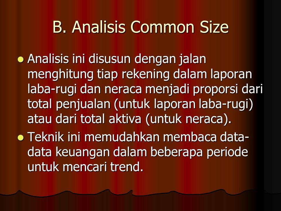 B. Analisis Common Size Analisis ini disusun dengan jalan menghitung tiap rekening dalam laporan laba-rugi dan neraca menjadi proporsi dari total penj