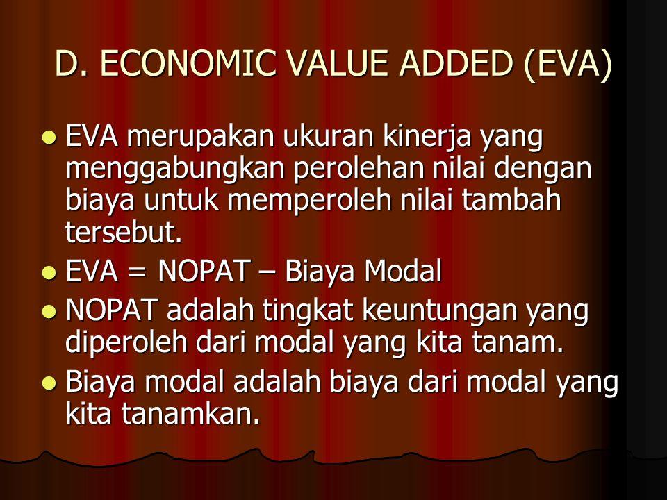 D. ECONOMIC VALUE ADDED (EVA) EVA merupakan ukuran kinerja yang menggabungkan perolehan nilai dengan biaya untuk memperoleh nilai tambah tersebut. EVA