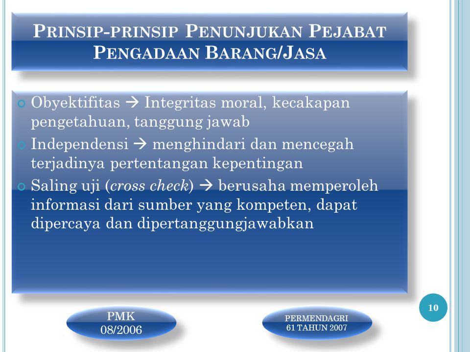 P RINSIP - PRINSIP P ENUNJUKAN P EJABAT P ENGADAAN B ARANG /J ASA Obyektifitas  Integritas moral, kecakapan pengetahuan, tanggung jawab Independensi