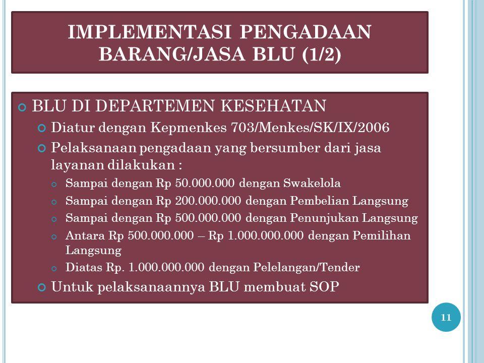 IMPLEMENTASI PENGADAAN BARANG/JASA BLU (1/2) BLU DI DEPARTEMEN KESEHATAN Diatur dengan Kepmenkes 703/Menkes/SK/IX/2006 Pelaksanaan pengadaan yang bersumber dari jasa layanan dilakukan : Sampai dengan Rp 50.000.000 dengan Swakelola Sampai dengan Rp 200.000.000 dengan Pembelian Langsung Sampai dengan Rp 500.000.000 dengan Penunjukan Langsung Antara Rp 500.000.000 – Rp 1.000.000.000 dengan Pemilihan Langsung Diatas Rp.