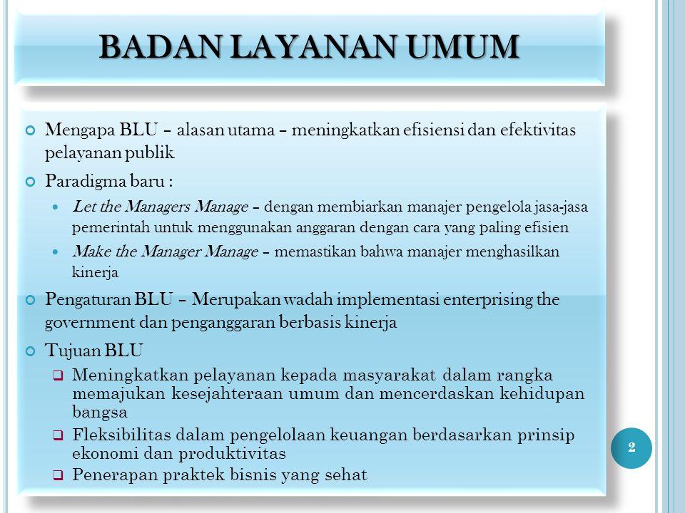 BADAN LAYANAN UMUM Mengapa BLU – alasan utama – meningkatkan efisiensi dan efektivitas pelayanan publik Paradigma baru : Let the Managers Manage – den