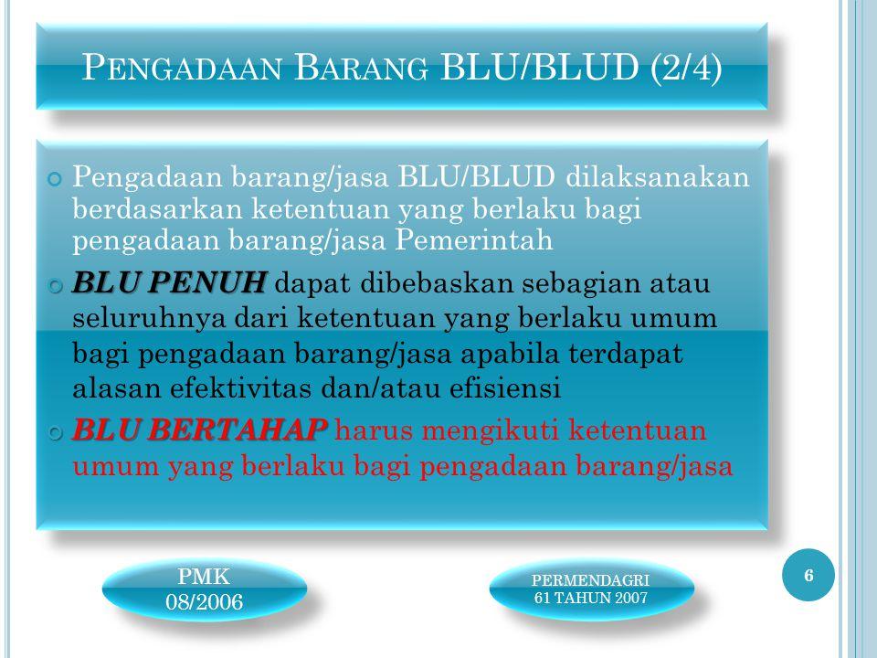Pengadaan barang/jasa BLU/BLUD dilaksanakan berdasarkan ketentuan yang berlaku bagi pengadaan barang/jasa Pemerintah BLU PENUH BLU PENUH dapat dibebas
