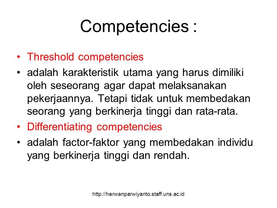 Competencies : Threshold competencies adalah karakteristik utama yang harus dimiliki oleh seseorang agar dapat melaksanakan pekerjaannya. Tetapi tidak