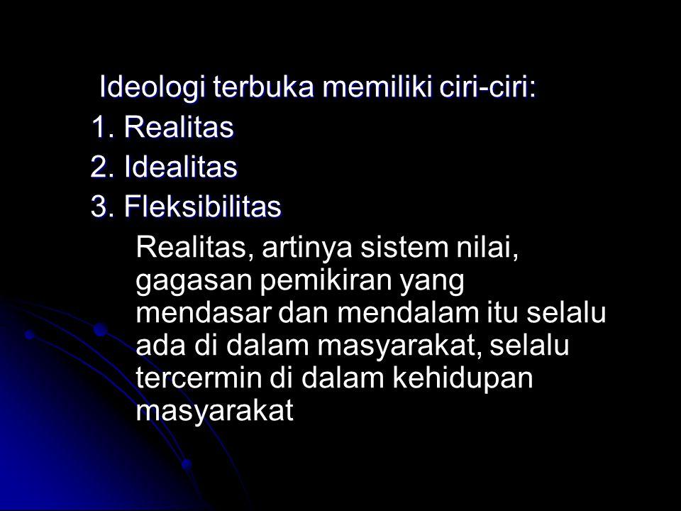 Ideologi terbuka memiliki ciri-ciri: Ideologi terbuka memiliki ciri-ciri: 1. Realitas 2. Idealitas 3. Fleksibilitas Realitas, artinya sistem nilai, ga