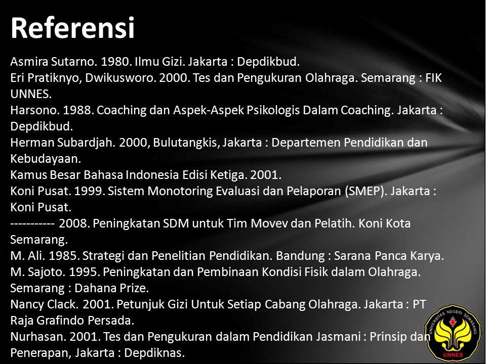 Referensi Asmira Sutarno. 1980. Ilmu Gizi. Jakarta : Depdikbud. Eri Pratiknyo, Dwikusworo. 2000. Tes dan Pengukuran Olahraga. Semarang : FIK UNNES. Ha