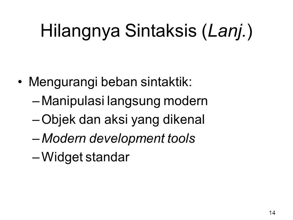 Hilangnya Sintaksis (Lanj.) Mengurangi beban sintaktik: –Manipulasi langsung modern –Objek dan aksi yang dikenal –Modern development tools –Widget sta
