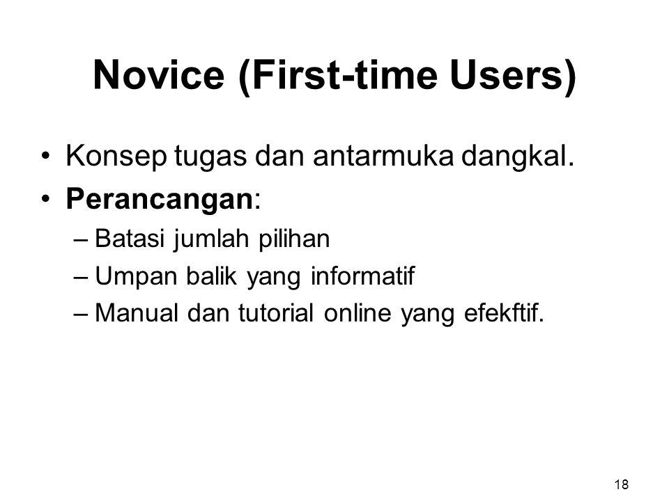 Novice (First-time Users) Konsep tugas dan antarmuka dangkal. Perancangan: –Batasi jumlah pilihan –Umpan balik yang informatif –Manual dan tutorial on