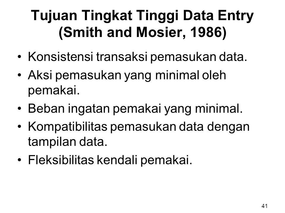 Tujuan Tingkat Tinggi Data Entry (Smith and Mosier, 1986) Konsistensi transaksi pemasukan data. Aksi pemasukan yang minimal oleh pemakai. Beban ingata