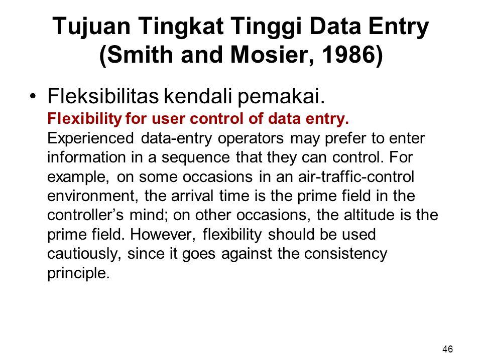 Tujuan Tingkat Tinggi Data Entry (Smith and Mosier, 1986) Fleksibilitas kendali pemakai. Flexibility for user control of data entry. Experienced data-