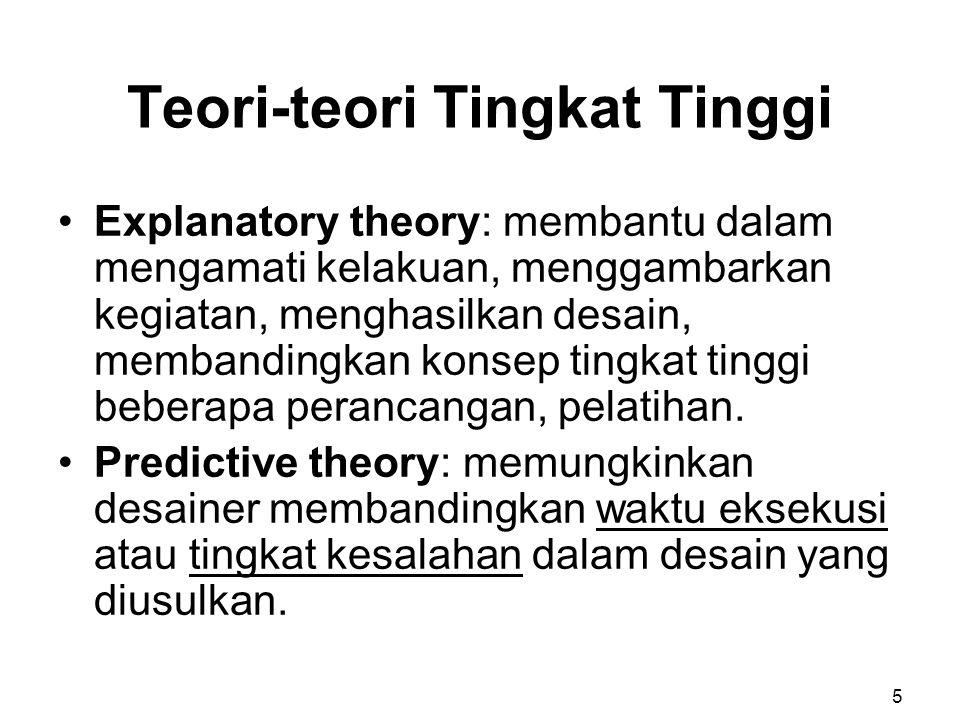 Teori-teori Tingkat Tinggi Explanatory theory: membantu dalam mengamati kelakuan, menggambarkan kegiatan, menghasilkan desain, membandingkan konsep ti