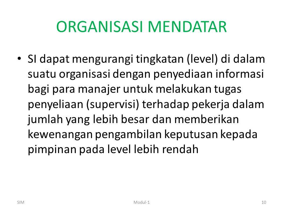ORGANISASI MENDATAR SI dapat mengurangi tingkatan (level) di dalam suatu organisasi dengan penyediaan informasi bagi para manajer untuk melakukan tuga