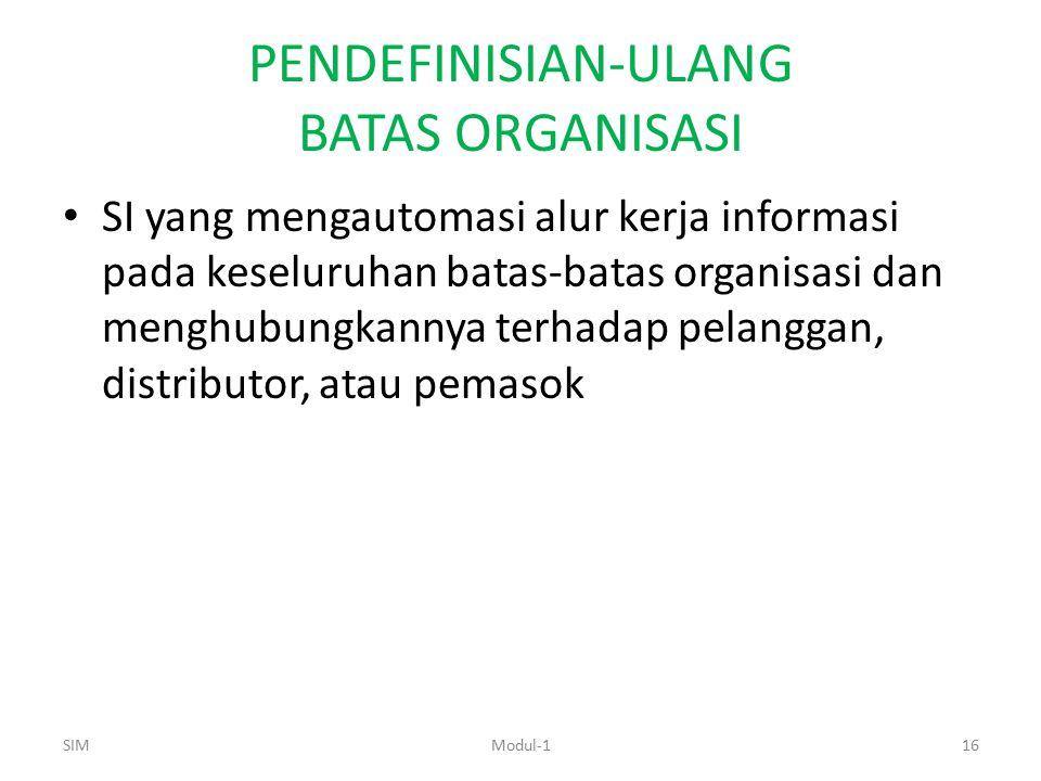 PENDEFINISIAN-ULANG BATAS ORGANISASI SI yang mengautomasi alur kerja informasi pada keseluruhan batas-batas organisasi dan menghubungkannya terhadap p