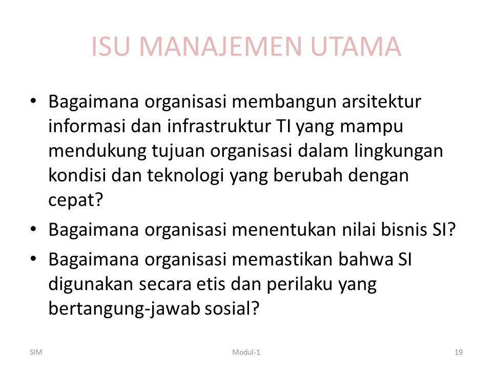 ISU MANAJEMEN UTAMA Bagaimana organisasi membangun arsitektur informasi dan infrastruktur TI yang mampu mendukung tujuan organisasi dalam lingkungan k