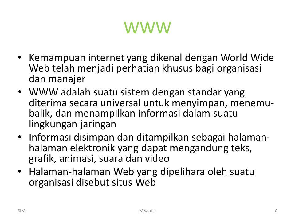 WWW Kemampuan internet yang dikenal dengan World Wide Web telah menjadi perhatian khusus bagi organisasi dan manajer WWW adalah suatu sistem dengan st