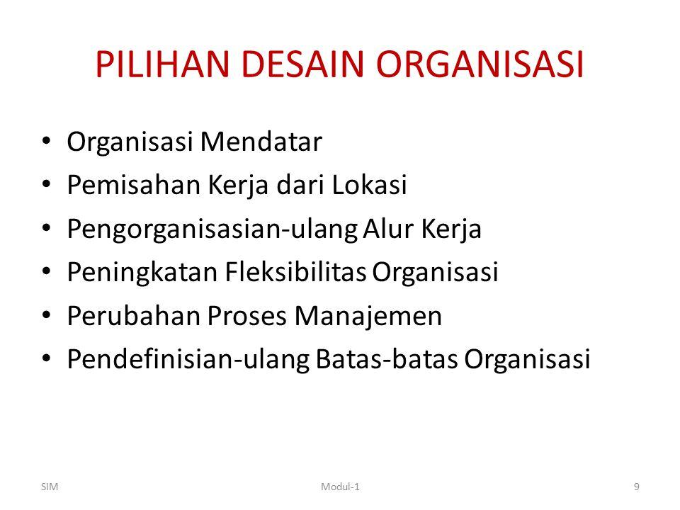 PILIHAN DESAIN ORGANISASI Organisasi Mendatar Pemisahan Kerja dari Lokasi Pengorganisasian-ulang Alur Kerja Peningkatan Fleksibilitas Organisasi Perub