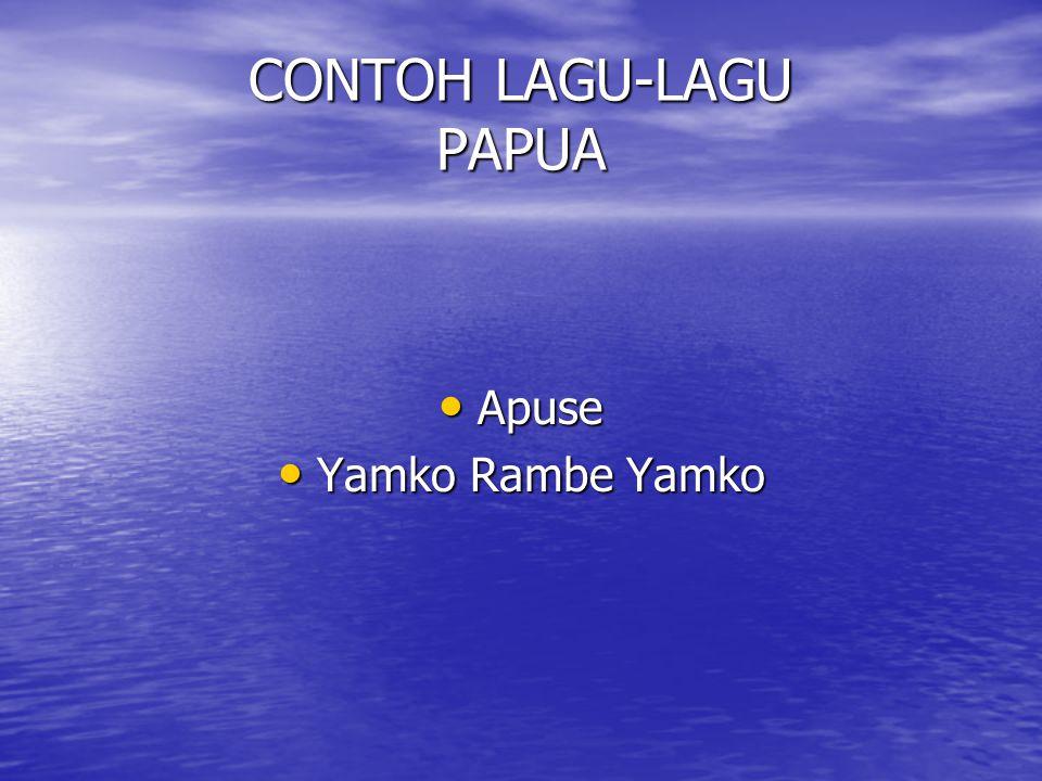 MUSIK DAERAH PAPUA Musik Papua dipengaruhi daerah Maluku Musik Papua dipengaruhi daerah Maluku Instrumen yang menarik adalah Genderang dari kulit Biawak Instrumen yang menarik adalah Genderang dari kulit Biawak Alat musik yang berkembang adalah Wuku ( Tifa di Maluku ) Alat musik yang berkembang adalah Wuku ( Tifa di Maluku )