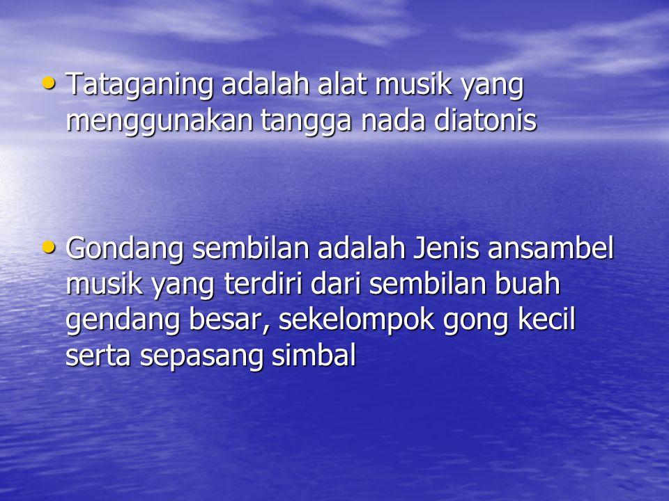 MUSIK DAERAH SUMATERA UTARA Musik di sumatera Utara beraneka ragam sesuai dengan etnis yang berkembang di sana Musik di sumatera Utara beraneka ragam sesuai dengan etnis yang berkembang di sana Alat musik yang terkenal adalah Tataganing dan Gondang Sembilan Alat musik yang terkenal adalah Tataganing dan Gondang Sembilan Alat musik seperti : Garantung, Tanggelong / nungneng, Seruling, Gong / Ogung, arbab, Hasapi, Hapetan dan Kucapi Alat musik seperti : Garantung, Tanggelong / nungneng, Seruling, Gong / Ogung, arbab, Hasapi, Hapetan dan Kucapi