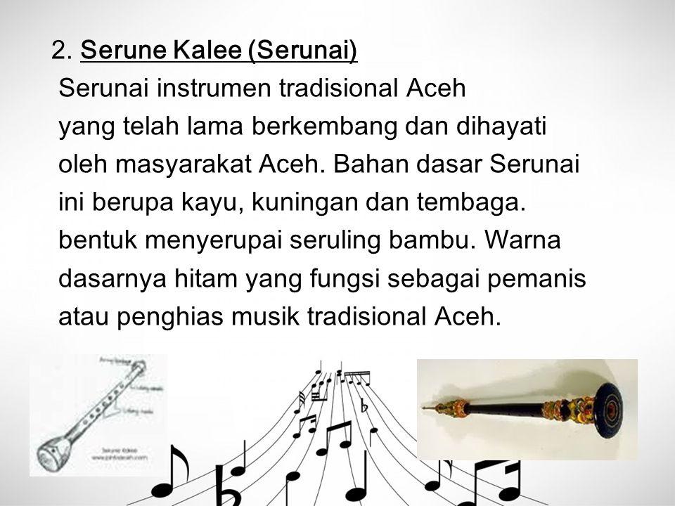 2. Serune Kalee (Serunai) Serunai instrumen tradisional Aceh yang telah lama berkembang dan dihayati oleh masyarakat Aceh. Bahan dasar Serunai ini ber