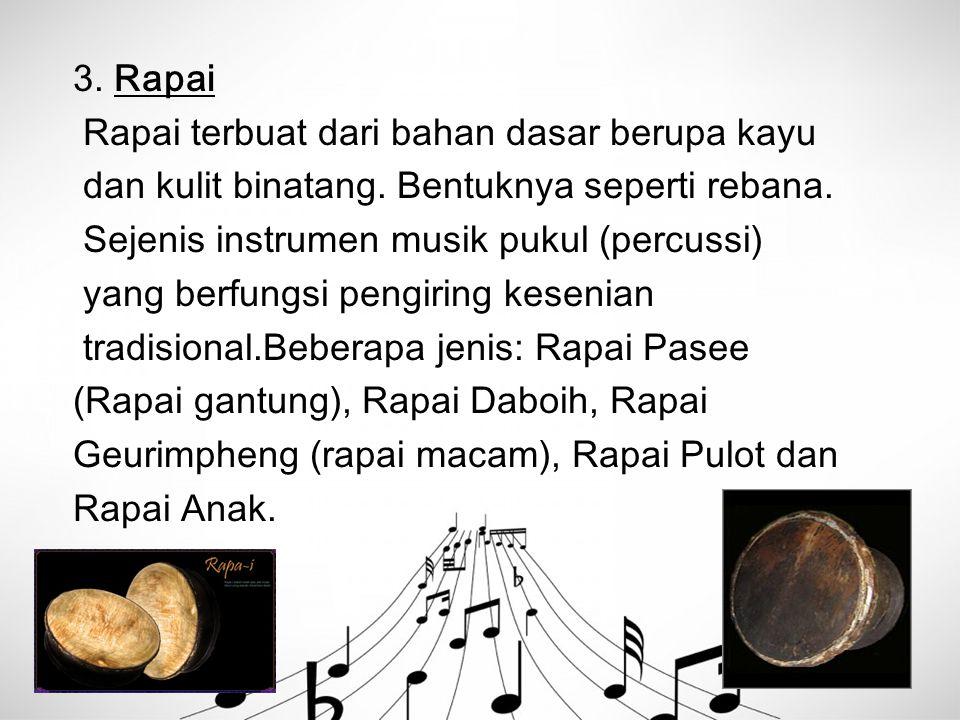 3. Rapai Rapai terbuat dari bahan dasar berupa kayu dan kulit binatang. Bentuknya seperti rebana. Sejenis instrumen musik pukul (percussi) yang berfun