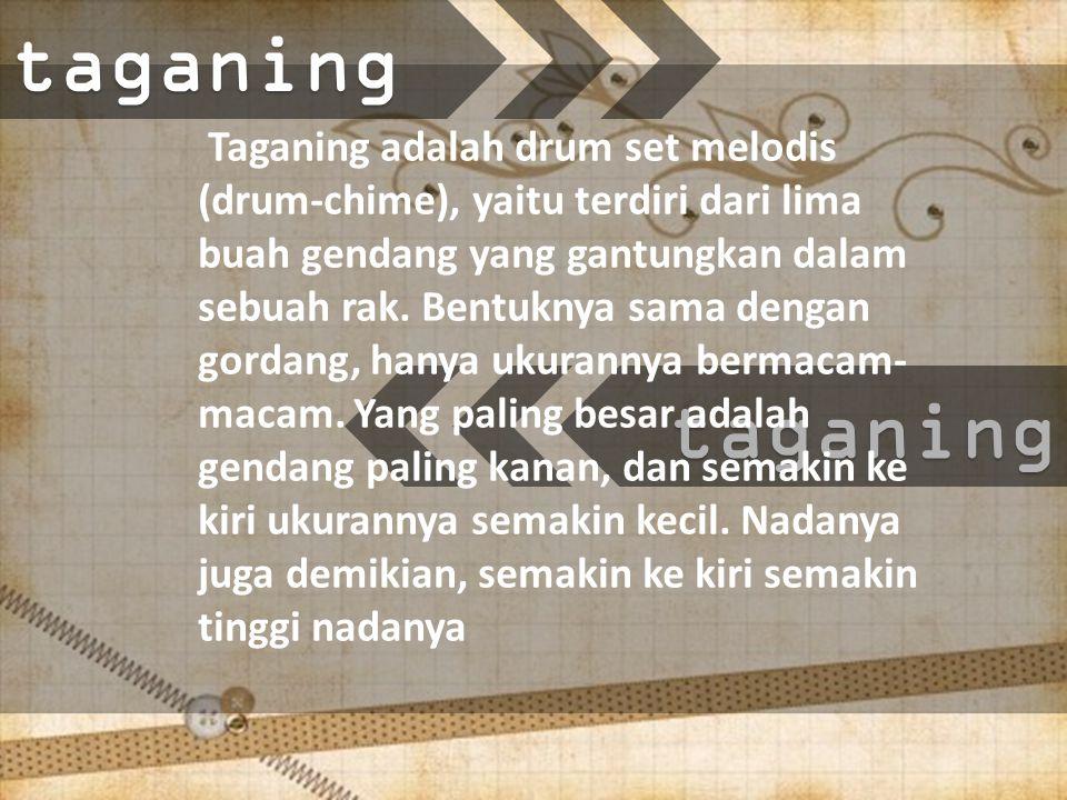 taganing Taganing adalah drum set melodis (drum-chime), yaitu terdiri dari lima buah gendang yang gantungkan dalam sebuah rak.