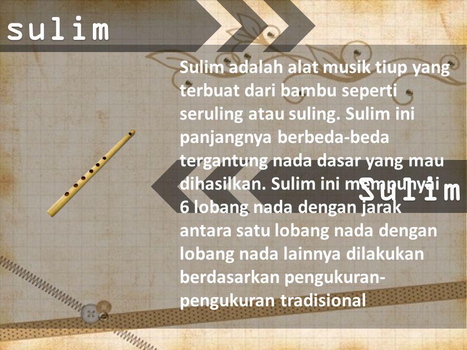 Sulimsulim Sulim adalah alat musik tiup yang terbuat dari bambu seperti seruling atau suling.