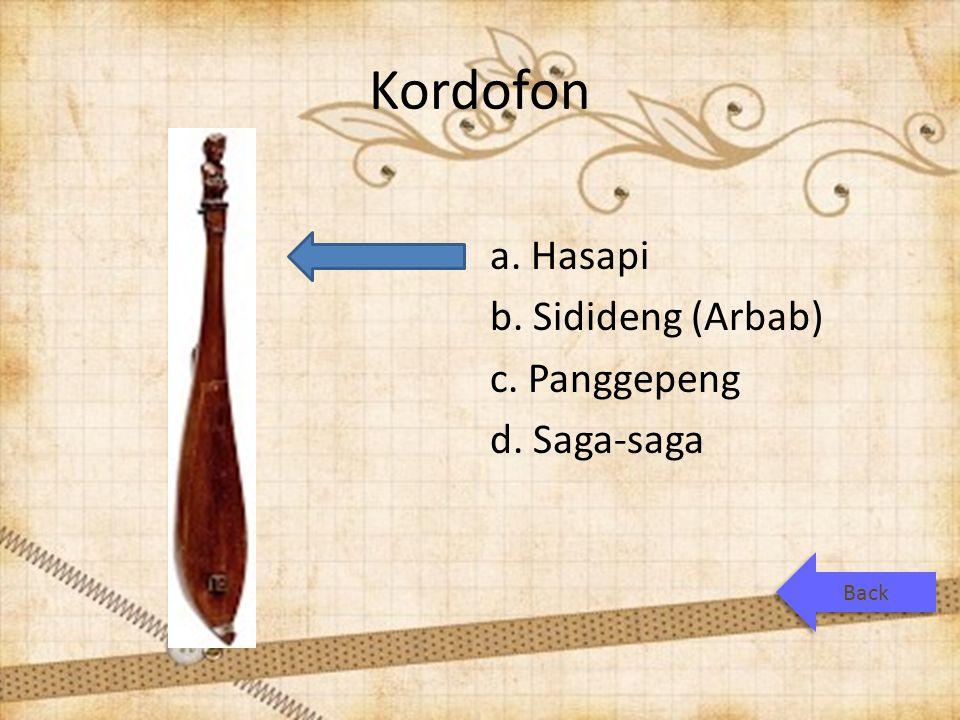 Kordofon a. Hasapi b. Sidideng (Arbab) c. Panggepeng d. Saga-saga Back