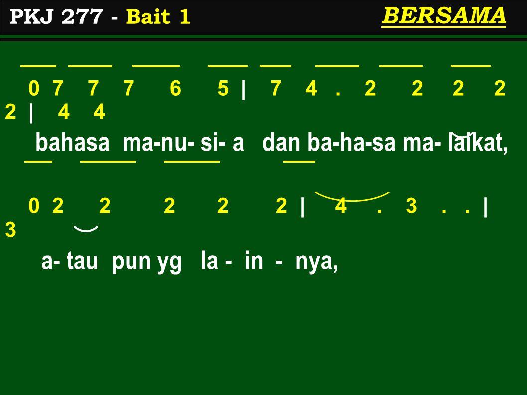 0 7 7 7 6 5 | 7 4. 2 2 2 2 2 | 4 4 bahasa ma-nu- si- a dan ba-ha-sa ma- laikat, 0 2 2 2 2 2 | 4. 3.. | 3 a- tau pun yg la - in - nya, PKJ 277 - Bait 1