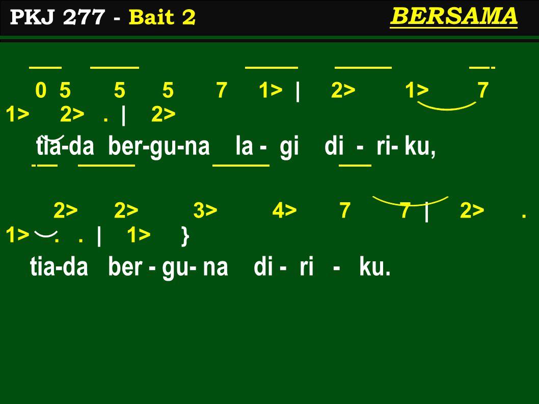 0 5 5 5 7 1> | 2> 1> 7 1> 2>. | 2> tia-da ber-gu-na la - gi di - ri- ku, 2> 2> 3> 4> 7 7 | 2>. 1>.. | 1> } tia-da ber - gu- na di - ri - ku. PKJ 277 -