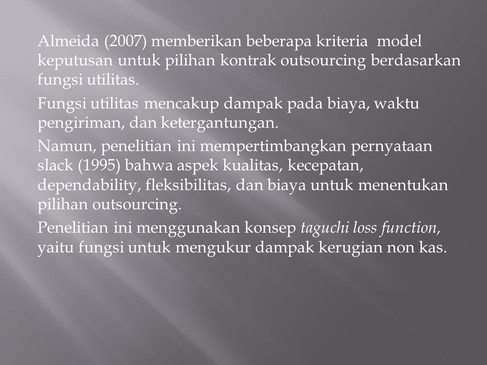 Almeida (2007) memberikan beberapa kriteria model keputusan untuk pilihan kontrak outsourcing berdasarkan fungsi utilitas. Fungsi utilitas mencakup da
