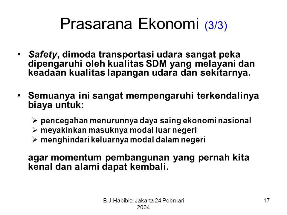 B.J.Habibie, Jakarta 24 Pebruari 2004 17 Prasarana Ekonomi (3/3) Safety, dimoda transportasi udara sangat peka dipengaruhi oleh kualitas SDM yang melayani dan keadaan kualitas lapangan udara dan sekitarnya.